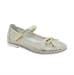 Туфли для девочки, цвет пудровый, ремешок на липучке, перфорация