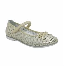 Туфли для девочки, цвет бежевый, ремешок на липучке, перфорация. небольшой каблук