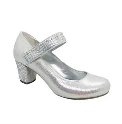Туфли для девочки, цвет серебристый, со стразами