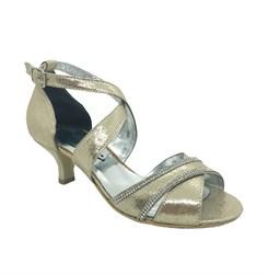 Туфли для девочки, цвет золотистый, с крученым ремешком