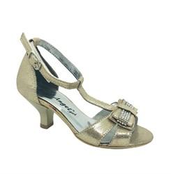 Туфли для девочки, цвет золотистый, с бантом