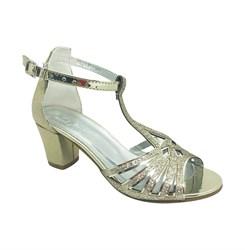 Туфли для девочки, цвет золотистый, с перемычкой