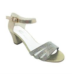 Туфли для девочки, цвет золотистый, открытый нос