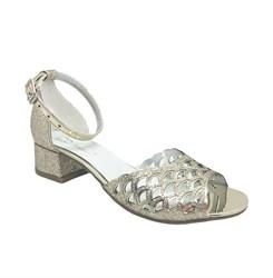 Туфли для девочки, цвет золотистый, каблук