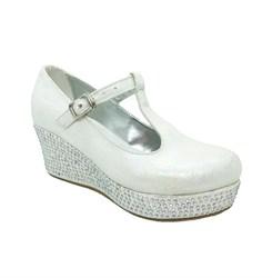Туфли для девочки, цвет белый, на танкетке