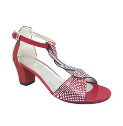 Туфли для девочки, цвет красный, с перемычкой