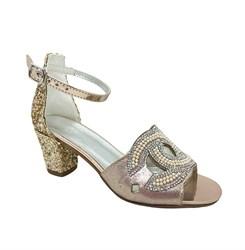 Туфли для девочки, цвет пудровый, с бусинами