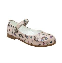 Туфли для девочки, цвет розовый (цветочный принт), ремешок на липучке, небольшой каблук