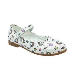 Туфли для девочки, цвет белый (цветочный принт), ремешок на липучке, небольшой каблук