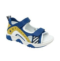 Сандалии для мальчика, цвет синий/желтый, на липучках